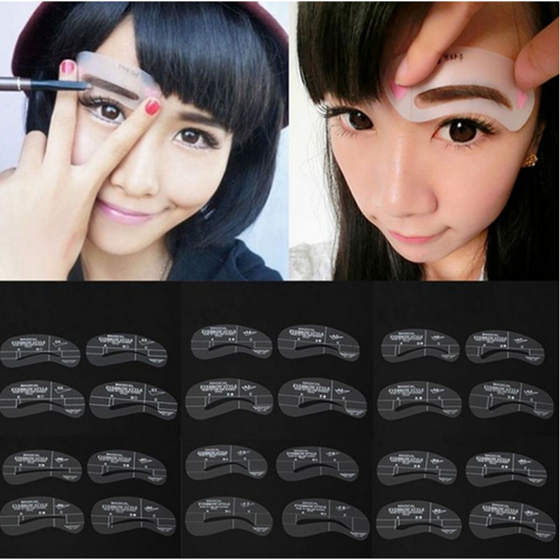 24 Style/Set Sopracciglio Eyebrow Shaping Stencil Grooming Template Women Beauty Makeup Tools Useful