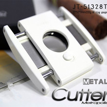 New 1pcs Cuban cigar Cutter stainless steel cigar knife White Men's Gadget gifts With Gift Box 51328TB