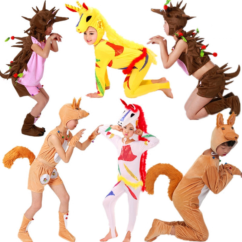 6 styles animal costumes for children squirrel costume kids squirrel tail costume hedgehog costume halloween cosplay for party