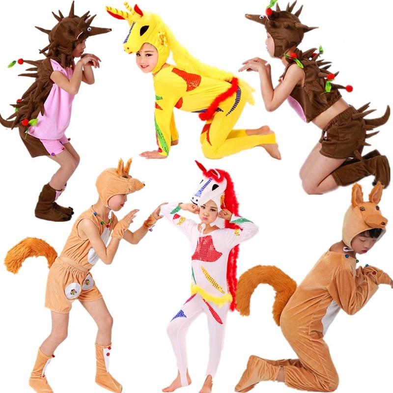 6 styles animaux costumes pour enfants écureuil costume enfants écureuil queue costume hérisson costume halloween cosplay pour la fête