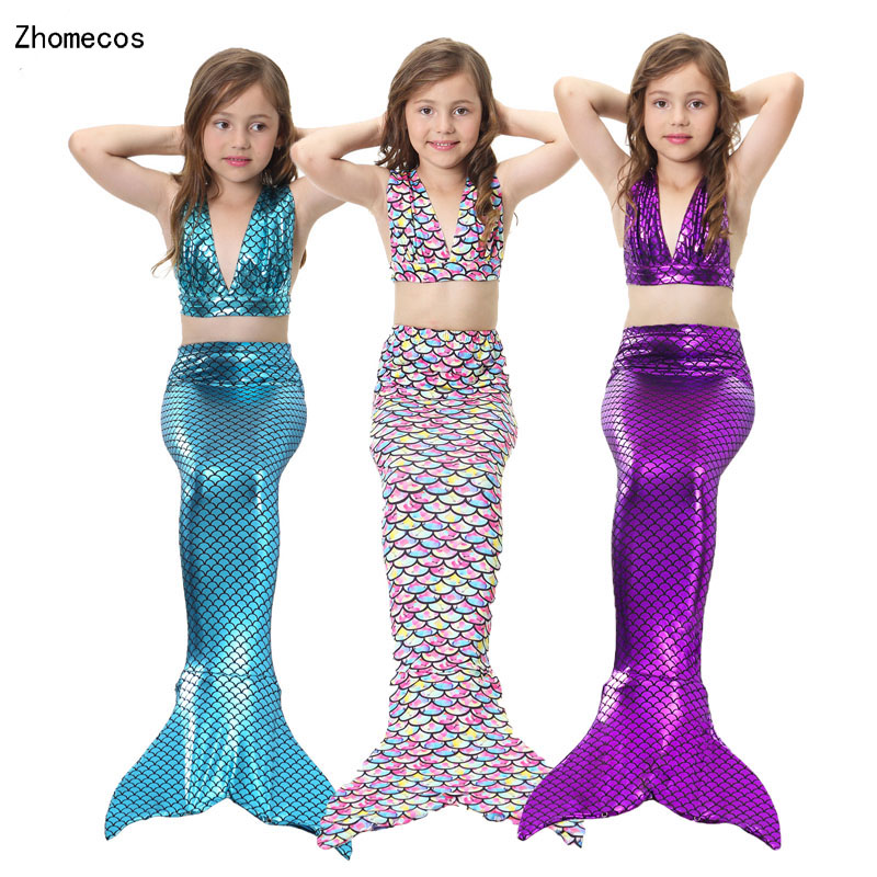 4 Pieces Girl's Mermaid Tails Swimmable Costumes with Monofin Kid Zeemeerminstaart Cola De Sirena Cauda De Sereia Cosplay S-XXXL