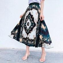 Flower Print Beach Boho Skirt Plus Size Long Maxi Skirt Summer Elastic Waist Pleated Skirt Korean Vintage Streetwear A-Line недорого