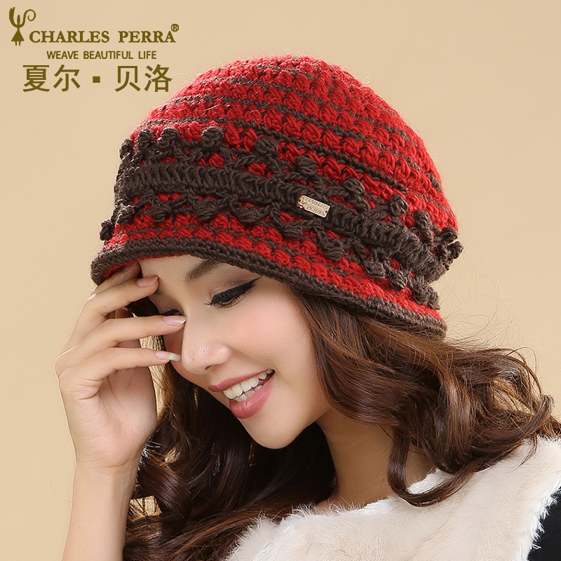 Charles Perra Women Hats Winter Thicken Double Layer Thermal Knitted Hat Elegant Lady Casual Wool Cap   Skullies     Beanies   3237