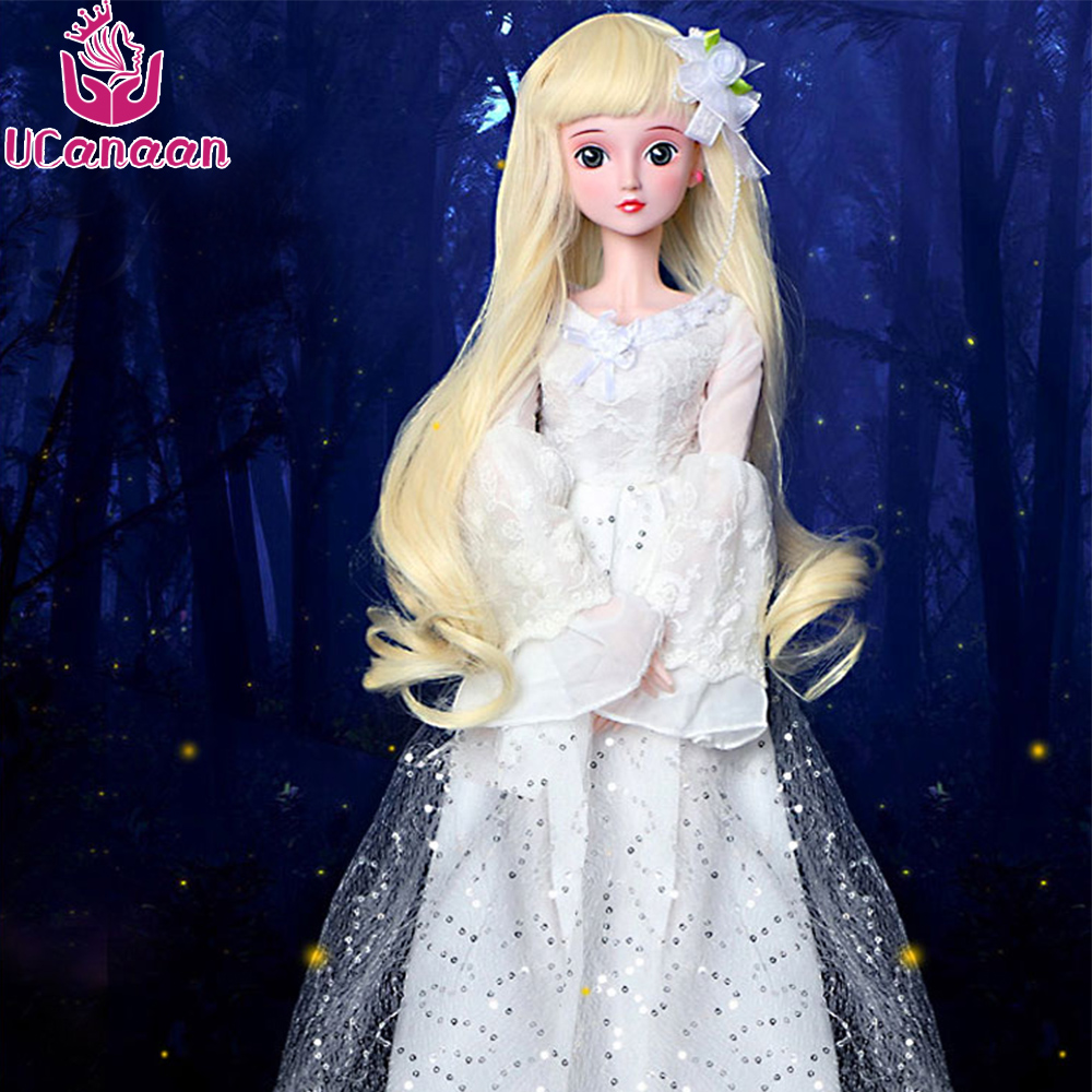 Ucanaan 60CM BJD Girls Doll 1/3 SD Dolls With Outfit Shoes Dress Makeup 19 Joints Ball Doll Chirstmas Gift Toys For Children Kid handsome grey woolen coat belt for bjd 1 3 sd10 sd13 sd17 uncle ssdf sd luts dod dz as doll clothes cmb107