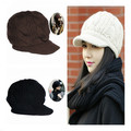 New Women Winter Knitted Hat Female Crochet Wool Warm hat Fashion Winter Peaked Cap