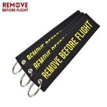 3PCS/LOT Remove Before Flight Key Ring Embroidery Tag Label for Aviation Gift Motorcycle Fob Car Keychain Accessories