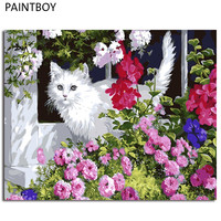 Modern Frameless Pictures Painting By Numbers DIY Oil Painting On Canvas Home Decor Of White Cat