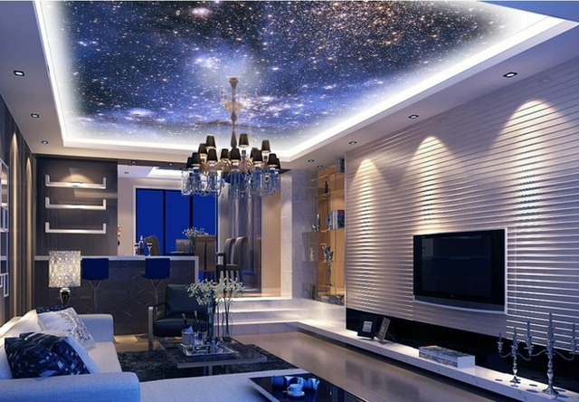 Custom Photo Wallpaper Night Sky For Ceiling Living Room Kitchen Wall Paper Stereoscopic