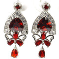 Pretty Created Blood Ruby, White CZ SheCrown Woman's Engagement 925 Silver Stud Earrings 33x15mm