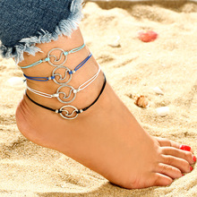 Ancient silver wave bracelet adjustable wax rope hand-woven anklet beach spray universal jewelry