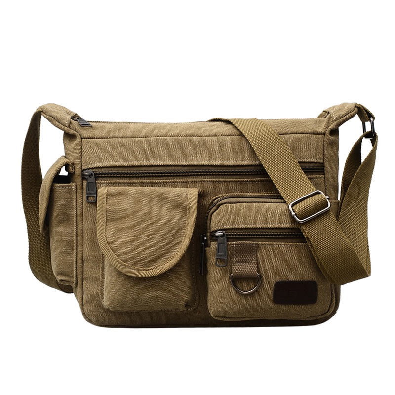 Canvas Hobo Style Travel Messenger Bag - Multi Pocket