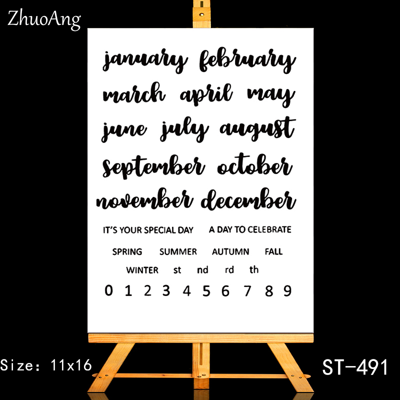 ZhuoAng Calendar Element Season Month Clear Stamps/Seals For DIY Scrapbooking/Card Making/Album Decorative Silicone Stamp Crafts