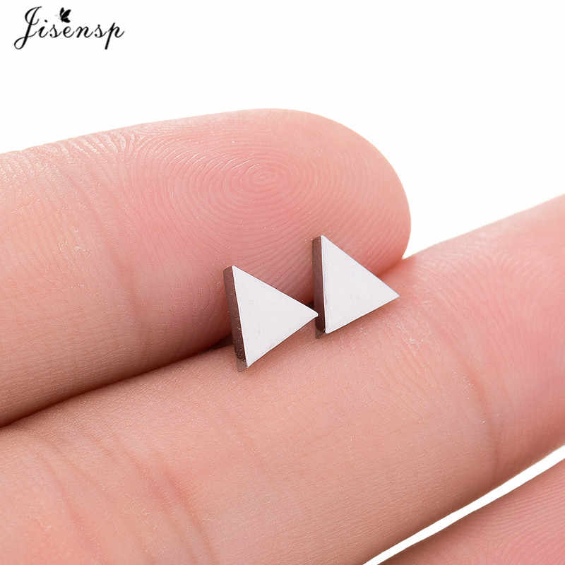 Jisensp New Punk Stainless Steel Earrings Female Black Hollow Triangle Stud Earrings for Women Geometric Earrings oorbellen