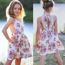 цены Chill Girls Dresses Summer Toddler Baby Girls Sleeveless Floral Print Backless Lace Dresses Toddler Clothes  HOOLER