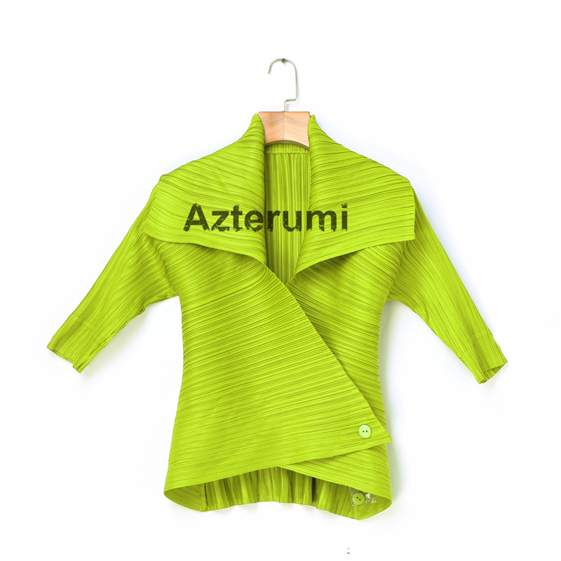 Azterumi Special Pleats Women Turn Down Collar Jacket Women Open Stitch Half Sleeve Coat White Khaki