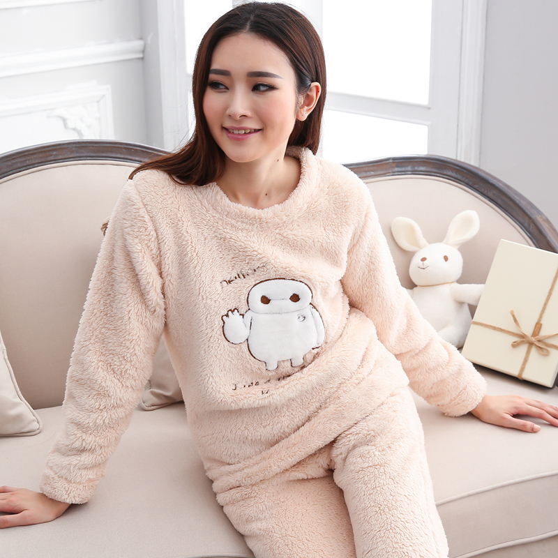 Aliexpress.com : Buy Cute Coral Fleece Women's Pajamas Sets Winter ...