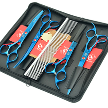 Meisha 7 inch Professional Pet Grooming Scissors Kit Straight Cutting & Thinning Curved Shears for Dog HB0117