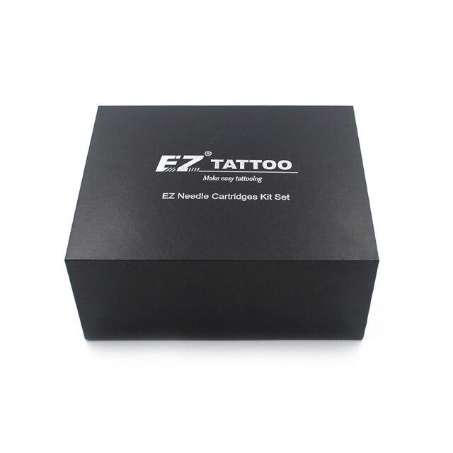 100 חתיכות מגוון EZ מחסנית קעקוע מחטים עם 4 שחור חד פעמי צינורות 2 מחט קעקוע מחטי מחסנית