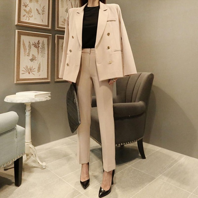 New Fashion Slim Business Wear Elegant Women Office OL Jacket Set Formal Blazer + Pants Suit Feminino Female Two-piece suit