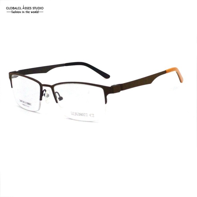80200cf56c0 Big Square Half Rim Lens Fashion Metal Glasses Frame Women Brown Color Thin  Acetate Tip Prescription Optical Frame 52JG38077-C2