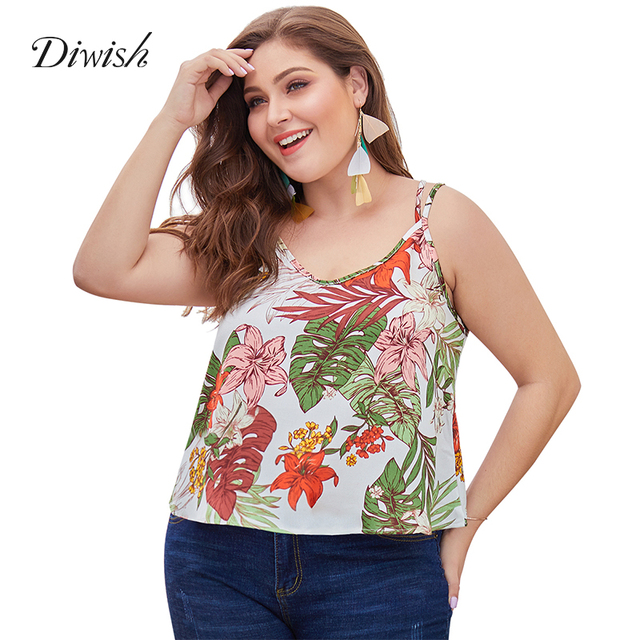 Diwish Women Print Tank Top Holiday Casual V Neck Summer Tops Double Spaghetti Strap Ladies Backless Tops Plus Size XL-4XL