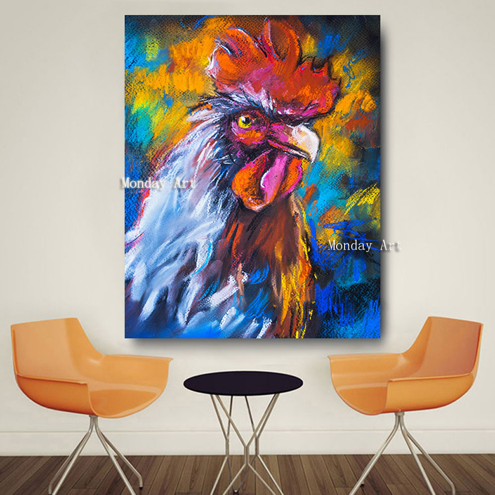 Animal Art Hand Painted Cock Oil Painting On Canvas Pop Modern Abstract Wall Picture For Kitchen Decor No Framed