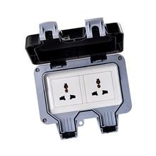 цена на IP66 Waterproof Wall Switch Socket Two Multi-FunctionThree Hole Double Socket Suitable for UK/EU/AU/US Plug Outdoor Bathroom