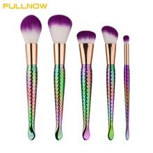 2017 New Arrival Pro Mermaid 5pcs Makeup Brush Set Kabuki Rainbow Foundation Powder Blending Brush Eyeshadow Cosmetic Tools Kit