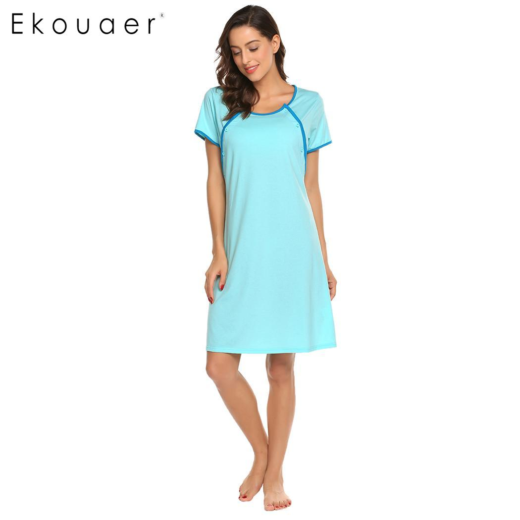 Ekouaer Nightgown Women Sleep Dress Maternity Nursing Breastfeeding ...
