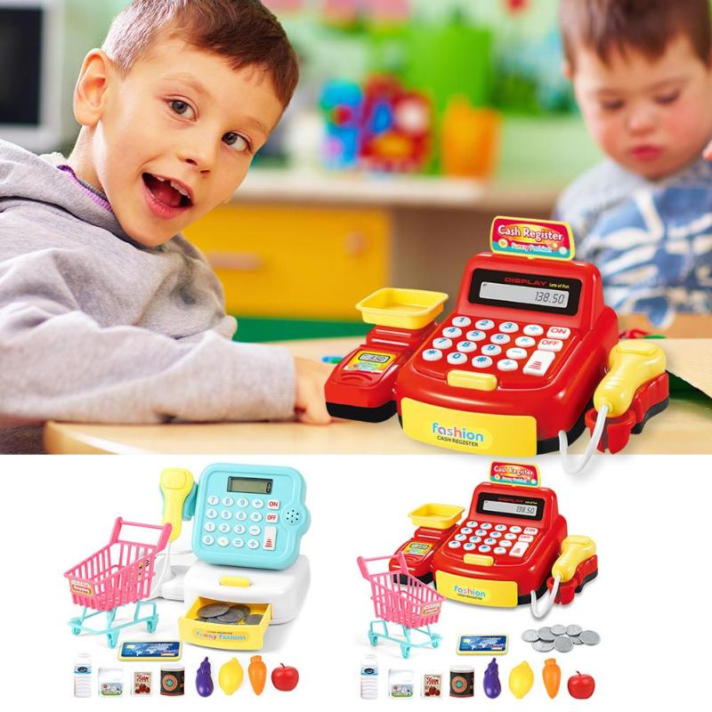 19pcs/set Mini Supermarket Checkout Counter Role Play Cashier Cash Register Baby Pretend Play Toys Family Activity Game Props