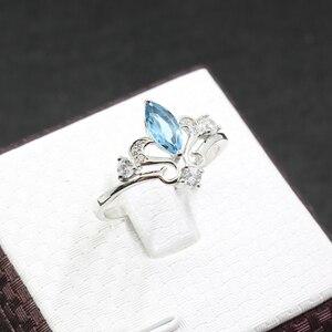Image 4 - Anillo de compromiso de corona de plata 925 auténtica de 100%, anillo de topacio natural de 4 mm X 8mm, anillo de topacio de plata 925 sólido, regalo para niña