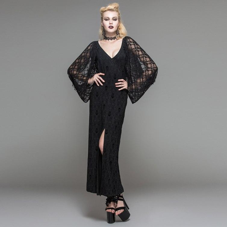 Devil Fashion Spring Sexy Women Dresses Straight Skull Lace Dress V-Neck See-through Dress Side Slit Long Dresses