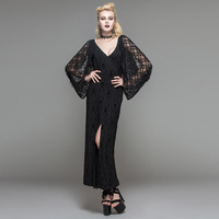 Devil Fashion Spring Sexy Women Dresses Straight Skull Lace Dress V Neck See through Dress Side Slit Long Dresses