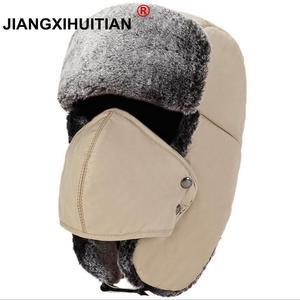 Balaclava Earflap Bomber Hats Caps Scarf Men Women Russian Trapper Hat Trooper Earflap Snow Ski Hat Cap With Scarve(China)