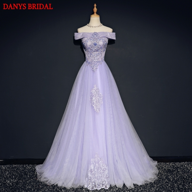 Elegant Lilac Lace Evening Dresses Long Party Tulle Women Ladies Elegant  Prom Formal Evening Gown Dress f5a6075b5f11