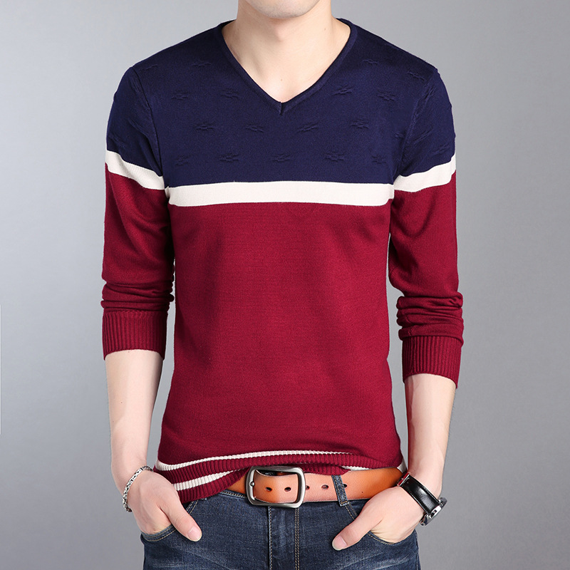 Sweater Pullover Men 2018 Male Brand Casual Slim Sweaters Men Fashion High Quality Hedging V-Neck Men'S Sweater 4XL