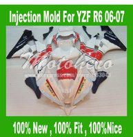 Pre_drilledInjection mold fairings for Yamaha YZF R6 2006 2007 YZF R6 06 07 YZF600 R6 2006 2007 ABS motorcycle fairings kit red