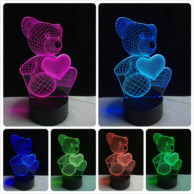 Hot Sale Little Lovely Teddy Heart Bear 3D LED USB Lamp Colorful Touch Atmosphere Night Light Children Lover Kid Christmas Gifts