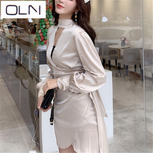 New spring and summer hanging neck hollow V-neck lantern sleeves pleated satin laced waist irregular sexy  OL Office Lad  dress