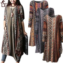 S-5XL Women Boho Floral Casual Baggy Long Sleeve Top Shirt Dress Kaftan Print Linen Maxi Loose Fashion