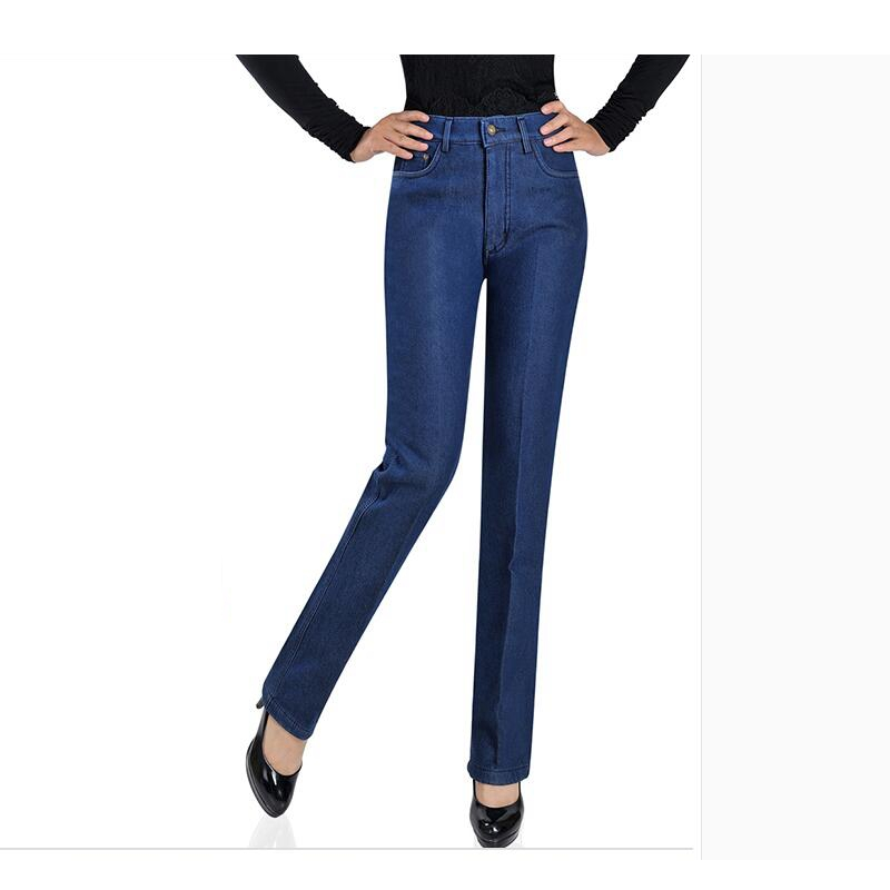 2016 Warm Women Jeans High Waist Pants Female For Winter Stretchy Brand High waisted Jeans Femme