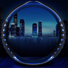 38cm Blue CAR STEERING WHEEL COVER PU Leather Viscose Carved Protect Steering Wheel Car-styling