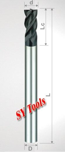Free shipping - hrc55 5mm Four Flutes(long) Spiral Bit Milling Tools Carbide CNC Endmill Router bits D5*13*D5*75-4F  цены