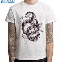 Ridiculous T Shirts  Short Graphic Regular Skull & Snake Tattoo Men O-Neck Tees