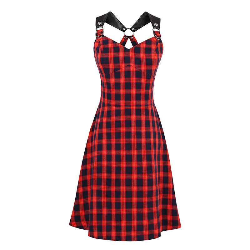 2019 Summergothic Jurk Vrouwen Red A-lijn Strapless Spaghetti Band Vintage Jurk Jong Meisje Party Retro Gothic Plaid Jurken