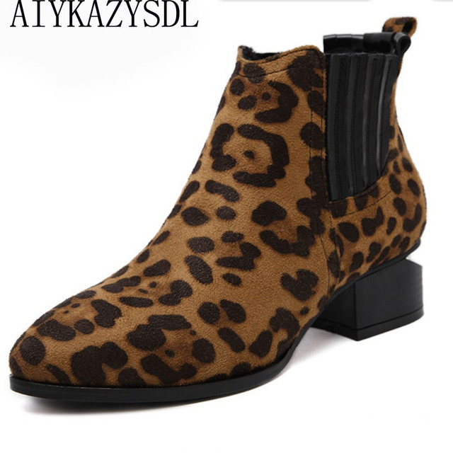 f21e7cf1d AIYKAZYSDL Punk Gothic Women Ankle Boots Leopard Print Flock/Leather  Chelsea Boots Block Cut Out Metal Heel Booties Woman Shoe