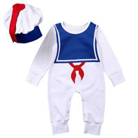 Cotton Baby Boys Girl Sailor Suit Romper Hat One Piece Outfits Clothes