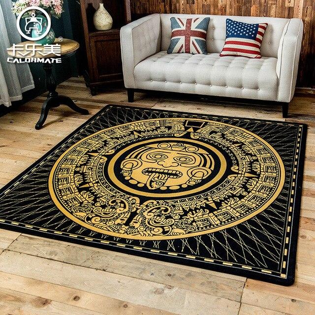 Mayan solar calendar pattern square Carpet Environmental Protection