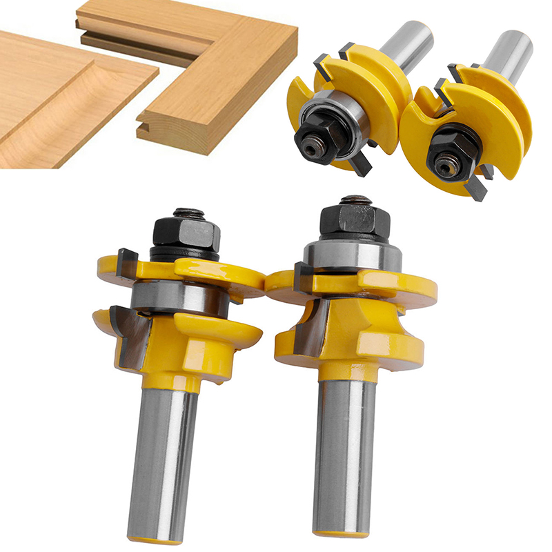 2pcs High Quality 1/2 inch Shank Rail & Stile Router Bits Set For Woodworking Cutter Tool