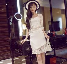 Summer new suit fashion sexy lace stitching ruffles hollow out V collar shirt + irregular fishtail package hip skirt sets